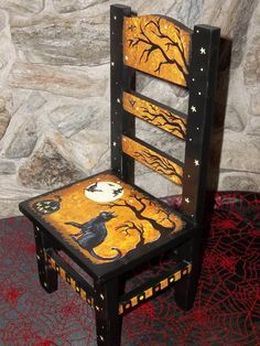 wooden chair painted for halloween Painted Wooden Chairs, Whimsical Painted Furniture, Hand Painted Furniture, Funky Furniture, Recycled Furniture, Furniture Makeover, Painted Rocking Chairs, Painted Tables, Furniture Design