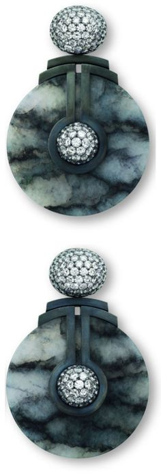 Hemmerle jade earrings with white diamonds, silver...   Diamonds in the Library