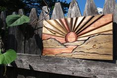 sunrise sunset sun and clouds Wooden Wall by LittleRhodyCrafts