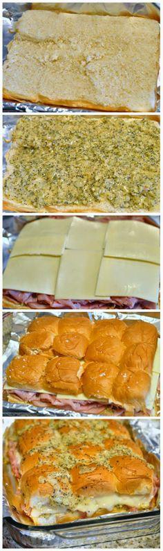Hawaiian Sweet Roll Ham Sandwiches - toprecipeblog.   My brother made this - amazing!!