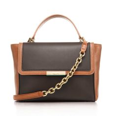 Quinn top handle bag in smooth and grain leather, large. More colors available.