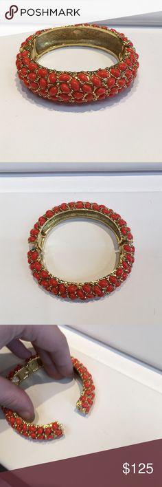Kjl Kenneth jay lane gold & coral cab bracelet Kenneth jay lane gold and coral cabochons hinged bangle bracelet Kenneth Jay Lane Jewelry Bracelets