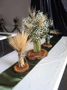 Hops and barley centerpiece by Exquisite Events, Bismarck ND Beer Bottle Centerpieces, Wheat Centerpieces, Wheat Decorations, Wedding Table Decorations, Decoration Table, Wedding Centerpieces, Hops Wedding, Wheat Wedding, Pagan Wedding