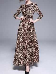 1e491fe8ffd0 Brown A-Line Party Evening Printed Maxi Dresses 3 4 Sleeve Dress, Long  Sleeve