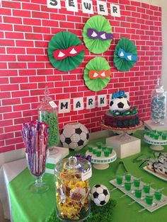 Fun backdrop at a Teenage Mutant Ninja Turtles birthday party! See more party planning ideas at CatchMyParty.com!