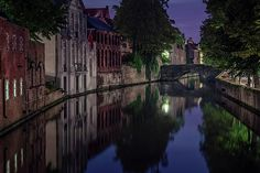 Bruges Canal Near Blind Donkey Alley by Joan Carroll #bruges #Canal #night #DonkeyAlley