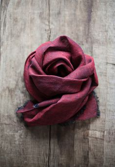 Linen Scarf / Red Colour/ / Unisex Scarf by LINOHAZE on Etsy
