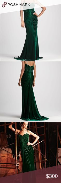 Tadashi Shoji Emerald Velvet Ruched Gown Gorgeous velvet gown! Emerald green color. Has a trail in the back. Velvet stretch material. Fully lined with built in bra. Ruched at the bust. Was showcased at NYFW. Tadashi Shoji Dresses