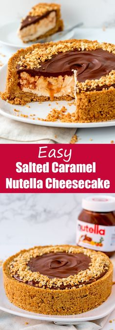 Easy Nutella Salted Caramel Cheesecake – A simple no-bake cheesecake that will impress everyone! I couldn't decided whether to make a Nutella cheesecake or a salted caramel cheesecake for this recipe