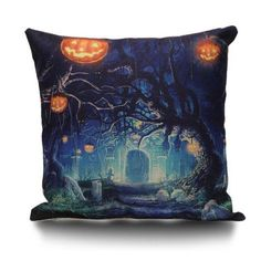 RoseGal.com - RoseGal Halloween Trees Pumpkin Decorative Linen Sofa Pillowcase - AdoreWe.com