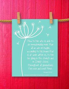 Ephesians Scripture Art - Dandelion Art - Bible Verse Art - Framed Quotes Print - Christian Wall Art - Printable Sign