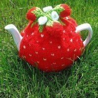Strawberry Knitted Tea Cosy