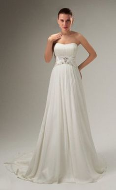 Awesome A-line Strapless Chapel Train Wedding Dress