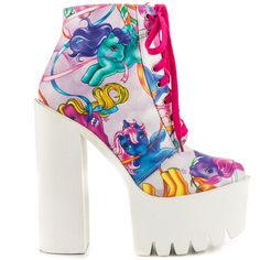 Iron Fist Women's My Little Pony Merry Go Bootie - Multi (635 VEF) ❤ liked on Polyvore featuring shoes, boots, ankle booties, block heel ankle boots, high heel booties, platform bootie, block heel booties and ankle boots