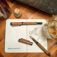I was able to get my hands on some very special #bourbon barrel staves to make these two fountain pens. Hope to have more to share about these in the future but for now, cheers!