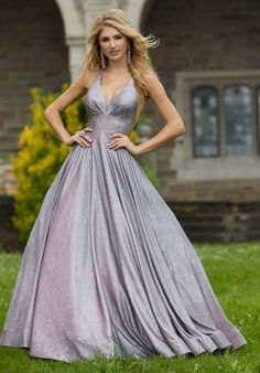 Mori Lee - 45087 Pleat-Ornate Plunging V-Neck Glitter Dress Mori Lee Prom Dresses, A Line Prom Dresses, Pageant Dresses, Formal Dresses, Formal Wear, Sweet Sixteen Dresses, Ballroom Gowns, Prom Dress Stores, Designer Prom Dresses
