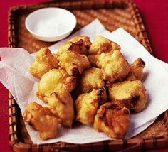 Cauliflower tempura   BBC Good Food / RECIPE http://www.bbcgoodfood.com/recipes/2638/cauliflower-tempura