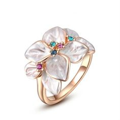 Rose Gold Colorful Flower Ring Size 6 AAA Zircon Crystal US Seller FREE Shipping