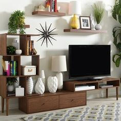 Mid Century Medium Brown Wood TV Stand by Baxton Studio | Overstock.com Shopping - The Best Deals on Entertainment Centers