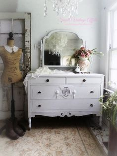 M O N O G R A M M E D Antique Dresser Beach Cottage Decor Shabby Chic Hand Painted Furniture by smallVintageAffair on Etsy https://www.etsy.com/listing/188813819/m-o-n-o-g-r-a-m-m-e-d-antique-dresser