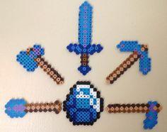 Minecraft Diamond Tool Perler Bead Magnets