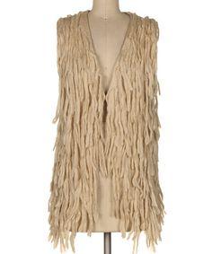 Another great find on #zulily! Beige Fringe Open Vest #zulilyfinds