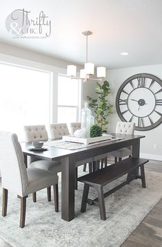 Awesome 50 Minimalist Small Dining Room Decoration Ideas On A Budget. # room decor on a budget 50 Minimalist Small Dining Room Decoration Ideas On A Budget - OMGHOMEDECOR Dining Room Wall Decor, Dining Room Design, Kitchen Decor, Dining Area, Dining Tables, Dining Room Area Rug Ideas, Wall Clock Decor, Kitchen Ideas, Dining Room Centerpiece
