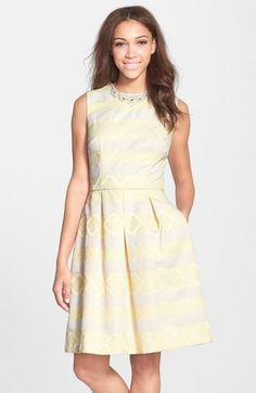 Maggy London Embellished Jacquard Fit & Flare Dress available at #Nordstrom