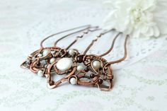 Wire wrap comb  copper comb   crown  hairpin by LenaSinelnikArt, $78.00