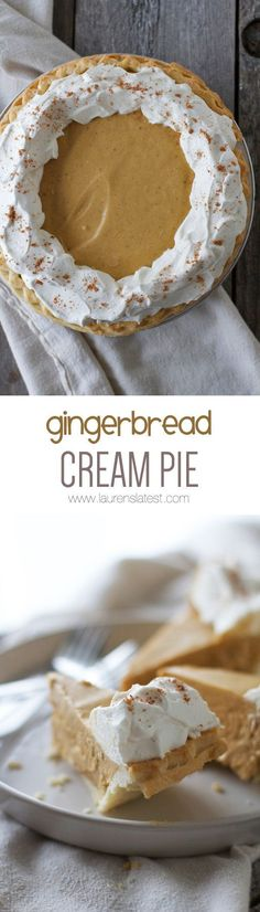 The crazy thing about this Gingerbread Cream Pie is it actually tastes like a soft and sweet gingerbread cookie in pie form. It's BANANAS. Also: it takes 10 minutes to whip up. OMG.