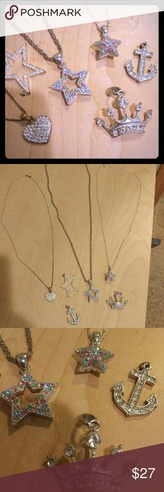 Lot of rhinestone necklaces: stars crown anchor Lot of Silver costume jewelry necklaces: 3 have chains, (may not be original chains) & 3 of the pendants do not but can easily be switched out. One is a rhinestone heart, 3 are stars, one anchor and one crown. The 2 thick stars have multi-colored stones and are in perfect condition, I bought them at a flea market years ago. The other pendants and the chains all show signs of wear but the 2 star pendants are perfect. Crown is in great shape as…