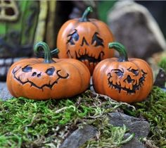 Set of 3 Jack-O-Lanterns for Miniature Fairy Gardens