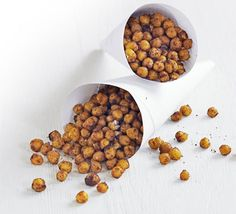 Spicy chickpeas. kcalories 80, protein 4.5g, carbs 10g, fat 2g, saturates 0g, fibre 3g, sugar 0g, salt 0.41g