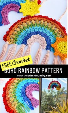 Free boho crochet rainbow pattern by My Crochet Makes on The Stitch Foundry, in UK and US terms. Beautiful and unique crochet rainbow of hope for you to make and hang in your window. Crochet Hippie, Crochet Diy, Crochet Amigurumi, Unique Crochet, Crochet Home, Crochet Gifts, Crochet Motif, Crochet Stitch, Crochet Ideas