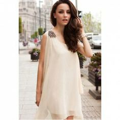 $13.43 Shoulder Board Sleeveless Scoop Neck Casual Women's Apricot Chiffon Refreshing Dress