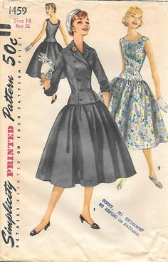 Simplicity 1459-1950s Long Waisted Dress and Jacket Vintage Sewing Pattern, by… Vintage Dress Patterns, Clothing Patterns, Vintage Dresses, Vintage Outfits, Vintage Fashion, 50 Style Dresses, Vestidos Vintage, One Piece Dress, Retro Dress