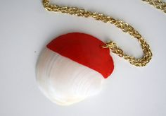 Sea Shell Necklace Pendant - Tomato Red Dipped Color Block, via Etsy.