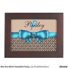 Blue Bow Black Chandelier Damask Monogram Keepsake Boxes