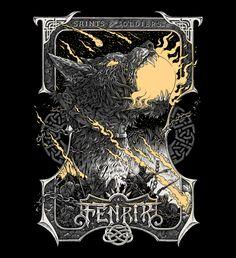 Fenrir, norse mythology, vikings, wolf, tattoo, tshirt design, illustration, art, metal, dark, cg, vector
