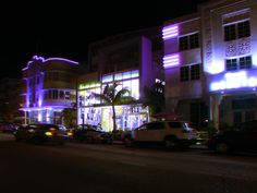 """Buildings of Collins Avenue at night - Google """"anaglyph glasses"""" to view in 3D!"""
