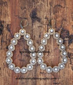 Pearl Stones on Bronze Teardrop Earrings $29.95 www.gugonline.com