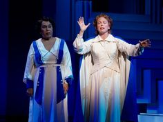 Roz Ryan as Emma Jo Schaeffer and Carolee Carmello as Aimee Semple McPherson in Scandalous