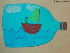 Dit knutselwerkje is maar 1 van de vele die we hebben in het thema piraten, bezoek Juf Milou voor nog meer knutselwerkjes. Diy For Kids, Crafts For Kids, Pirate Day, Message In A Bottle, High Five, Primary School, Diy Cards, Birthday Cards, Projects To Try