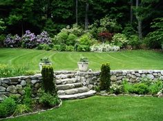 Garden - Old Fashioned Backyard Designs Idea With Chic Stone Steps And Mounted Fence Located Between Green Lawns: Awesome Backyard Designs Ideas for Relaxing Living Space Concept
