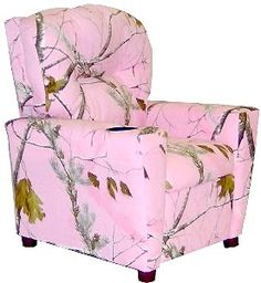 Dozydotes Kid Recliner with Cup Holder - Camouflage Pink - The Dozydotes Kid Recliner with Cup Holder - Camouflage Pink is the perfect addition to any girl's room. This superb recliner is crafted of solid hard. My New Room, My Room, Girl Room, My Living Room, Living Room Chairs, Camo Furniture, Pink Camouflage, Purple Camo, Daughters Room