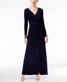 Vince Camuto Belted Embellished Faux-Wrap Gown | macys.com