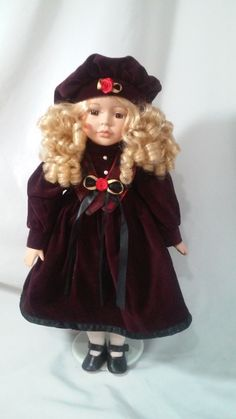 """#Vintage #Porcelain Doll 16"""" #Valentine's Day Doll Blonde Curly Hair Brown Eyes Red Velvet Dress Black Mary Janes #Collectible #Doll by FugitiveKatCreations on Etsy"""