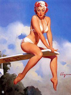 Gil Elvgren, Pin Up Posters, Girl Posters, Slot Machine, Machine Video, Vintage Pins, Retro Vintage, Tattoo Video, Nostalgia