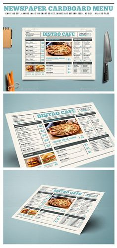 Newspaper Style Cardboard Menu Template PSD, AI Illustrator