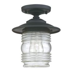 """View the Capital Lighting 9677 1 Light 10"""" Tall Outdoor Semi-Flush Ceiling Fixture from the Creekside Collection at LightingDirect.com."""